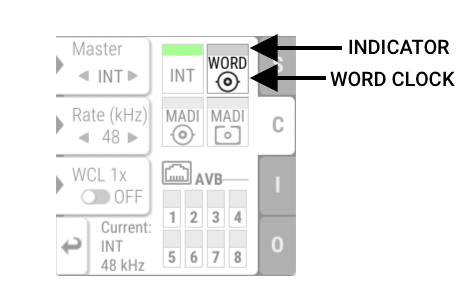 The Clock Section with highlighted Word Clock Input